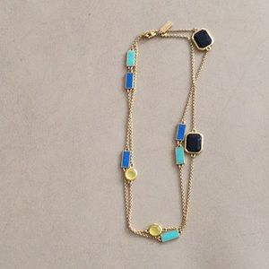 Kate Spade gold chained long necklace with enamel